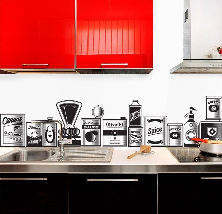 Kitchen design adorable graphic backsplash retro behind stove also bright red kitchen cabinet also white wall paint color also black kitche