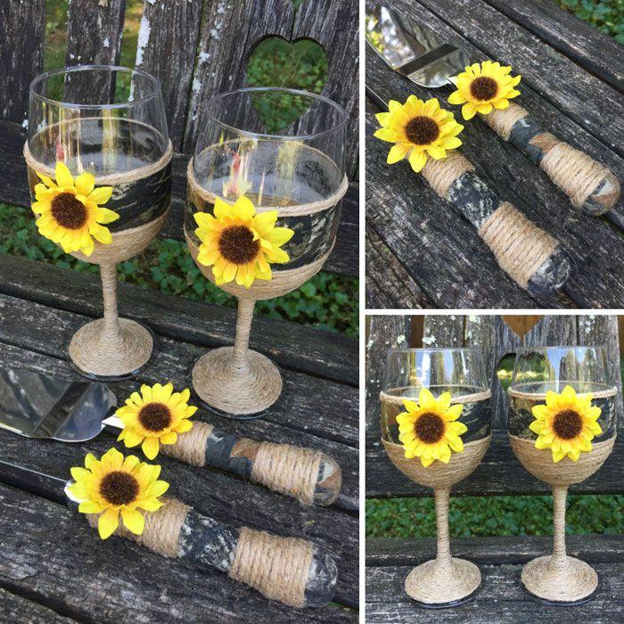 Rustic Camo Wedding Wineglass And Cake Server Set Sunflower Themed Wedding Camo Wedding Cakes Camo Wedding Decorations