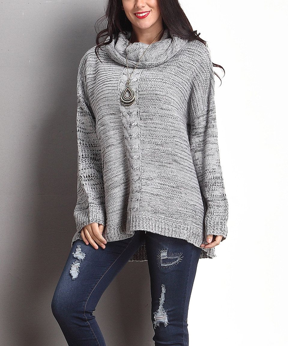 Gray Marble Knit Cowl Neck Sweater - Plus by Reborn Collection #zulily #zulilyfinds