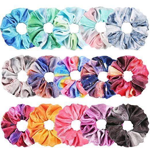 Tie Dye Velvet Scrunchies for Hair, Funtopia 15 Pc