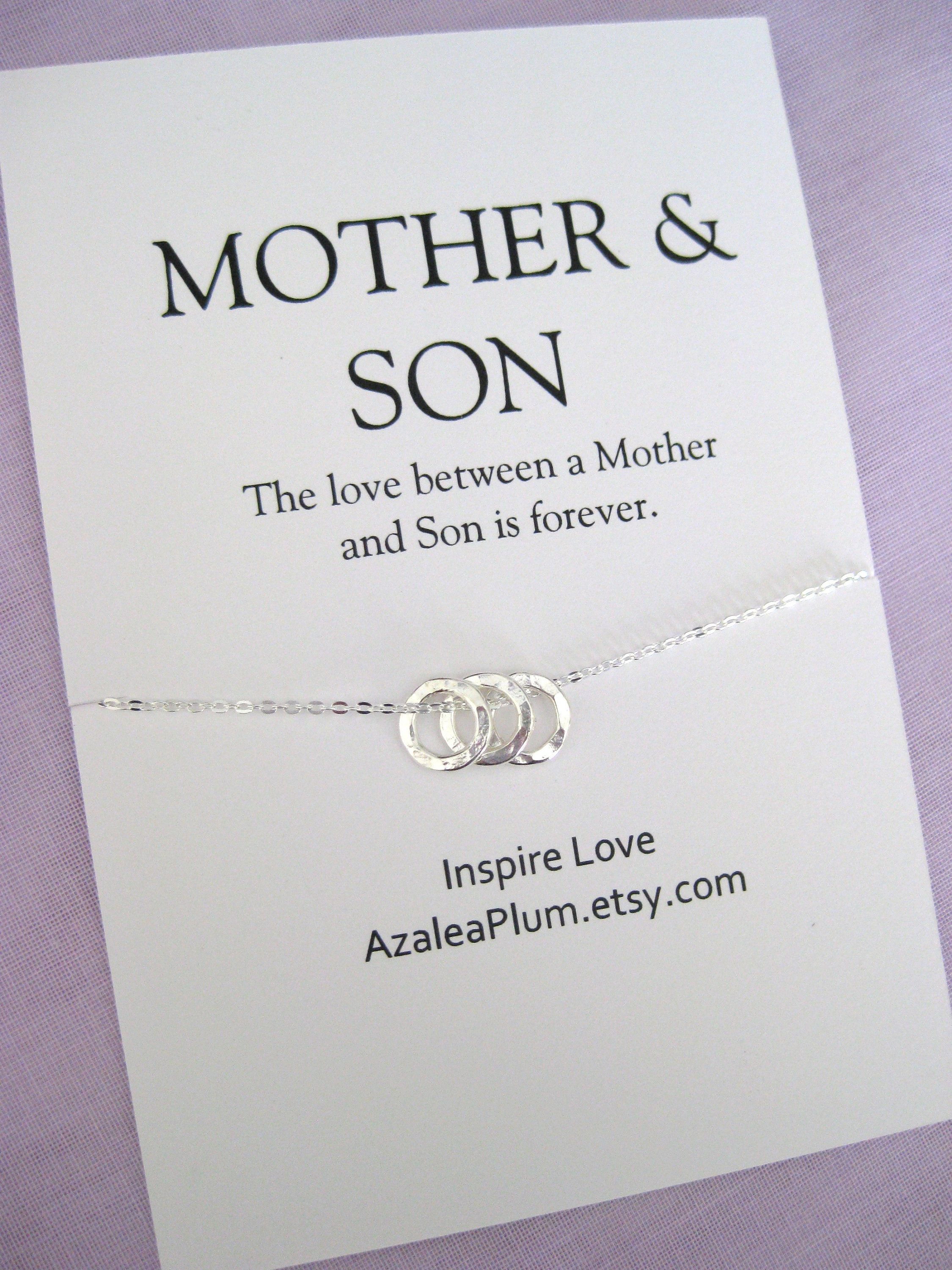 Mother son necklace solid sterling silver necklace
