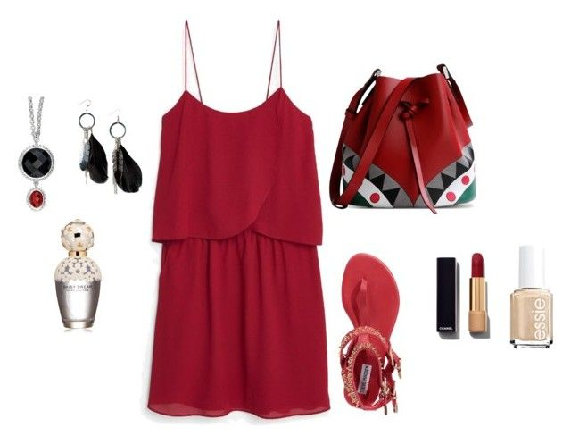 """""""Red Dress"""" by emina-095 ❤ liked on Polyvore featuring MANGO, Les Petits Joueurs, Chanel, Marc Jacobs, Essie, women's clothing, women, female, woman and misses"""