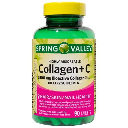 Spring Valley Collagen plus Vitamin C Tablets, 2500 mg, 90 Ct ...
