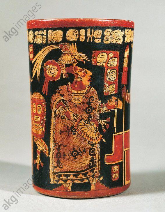 Maya Civilization Cylindrical Vase With Hieroglyphic Text And Dignitary From Tikal Guatemala