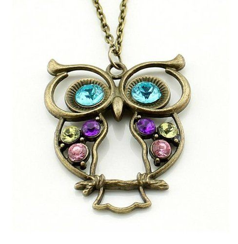 Stone River Jewellery Blue Eyed Bronze Tone Owl Pendant Long Chain Necklace Vintage Style Lilac, Lemon & Pink Stones by Stone River Jewellery, http://www.amazon.co.uk/dp/B0063T4490/ref=cm_sw_r_pi_dp_T8jurb1KPS7Y6