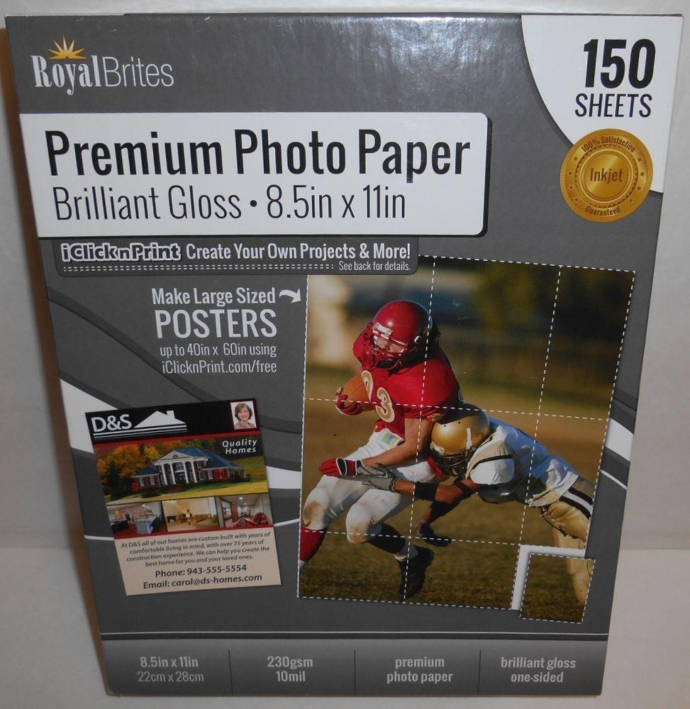 Premium Photo Paper 142 Sheets Royal Brites 85 X 11 Brilliant Gloss
