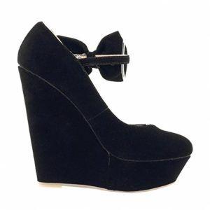 Loslandifen Womens Bow-Tie Faux Velvet Platform High Heels Wedge Party Pumps(391-3VE38,black) $72.99