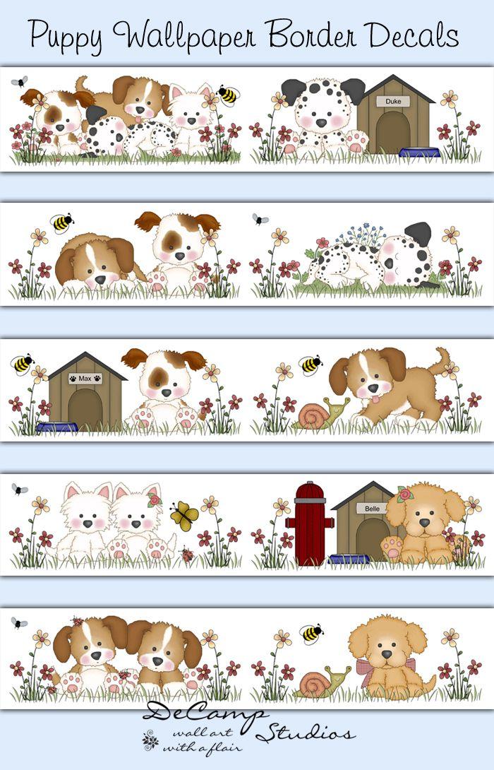 Puppy Dog Wallpaper Border Wall Decals Childrens Room Art Decor Decampstudios Adesivos Planejadores Ilustracao De Bebe Pintura Infantil