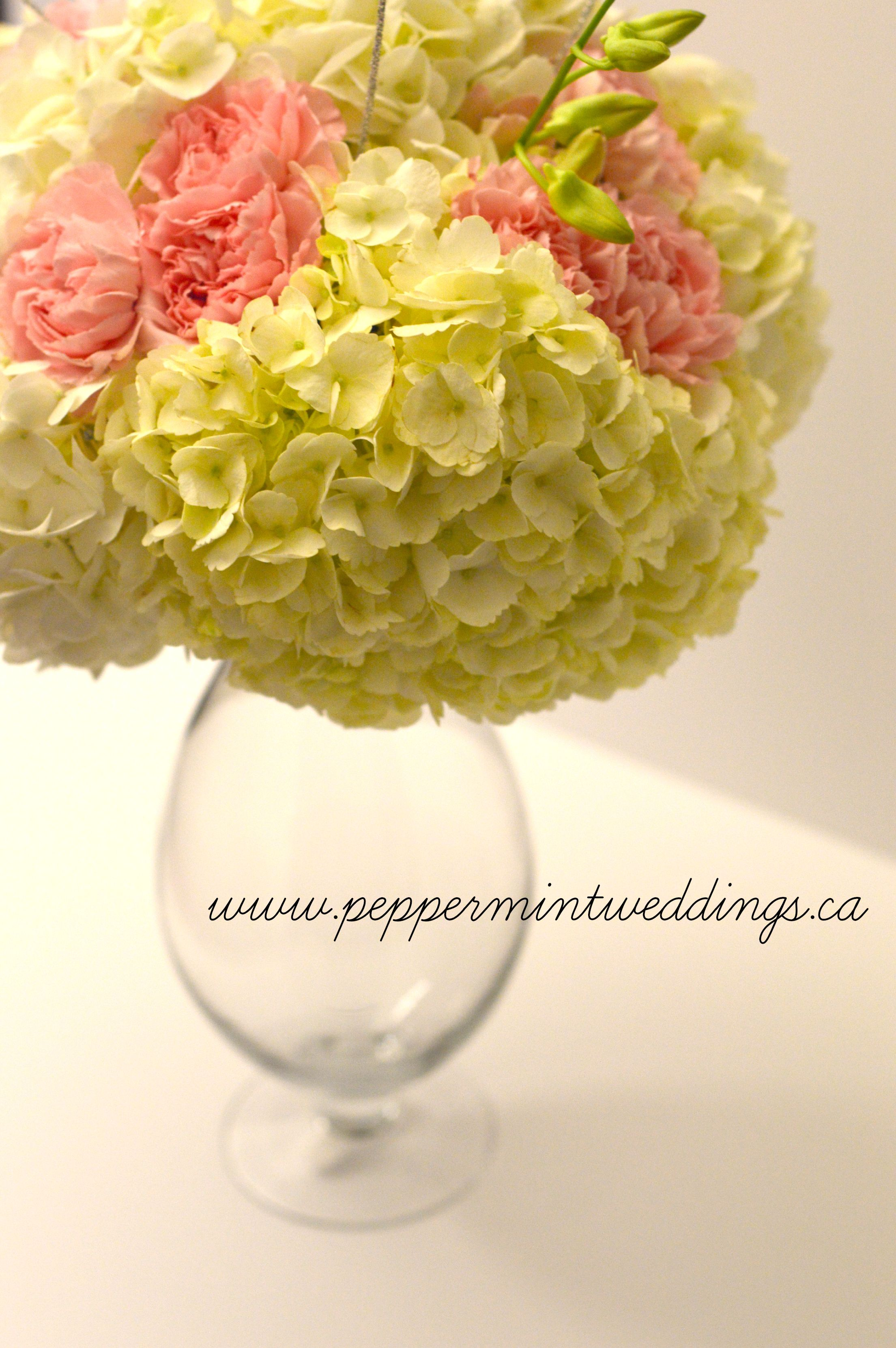 Hydrangea And Carnation Centerpiece : Love this hydrangea and carnation centerpiece
