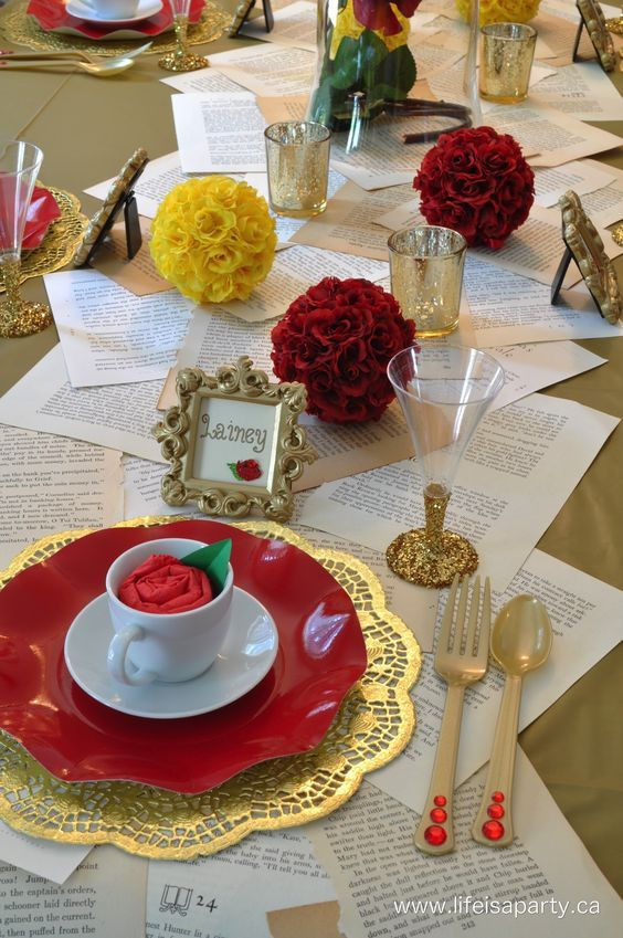 Beauty the beast table setting from life is a party for Beauty and beast table decorations