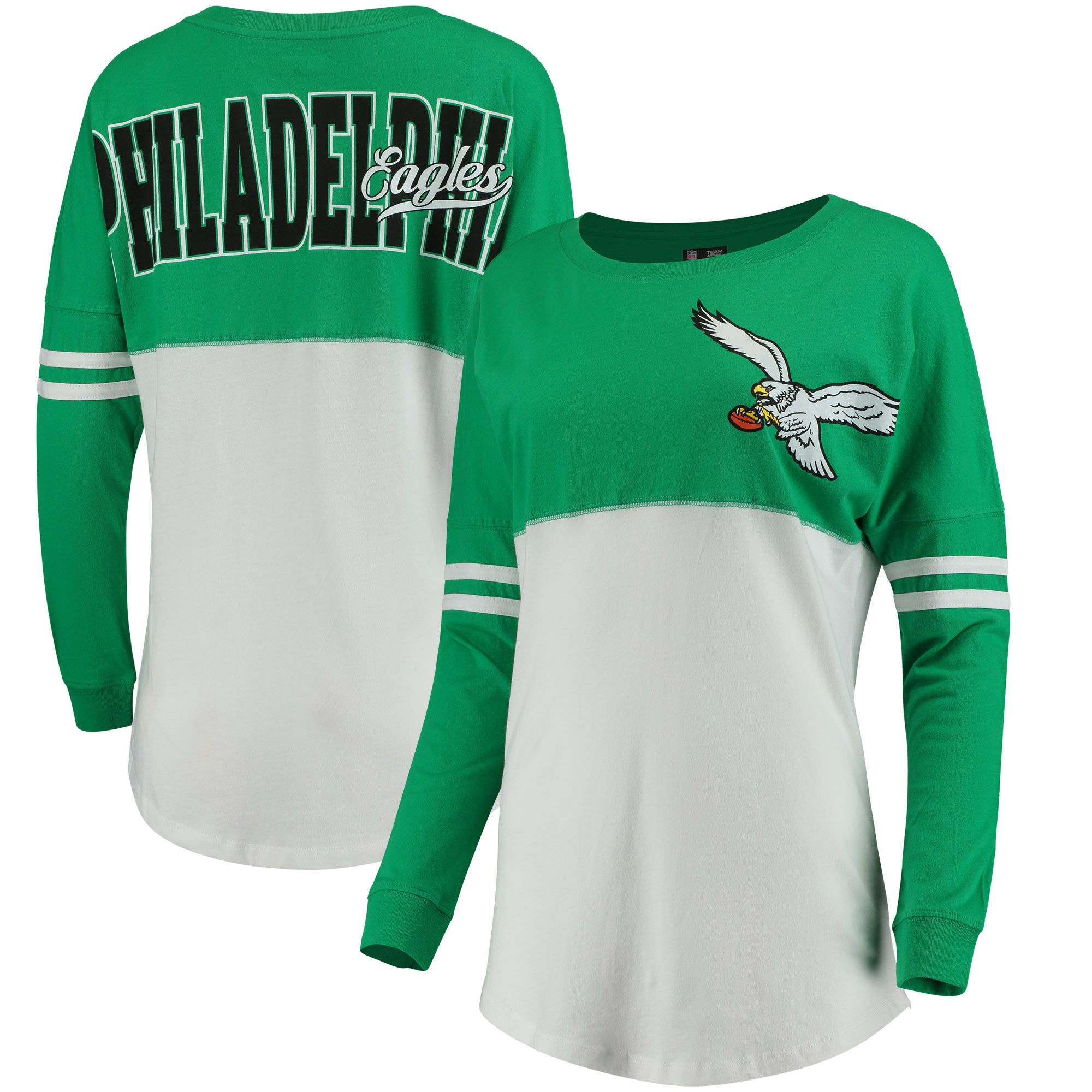 6b161d54d 5th   Ocean by New Era Philadelphia Eagles Women s Kelly Green White  Throwback Spirit Long Sleeve T-Shirt