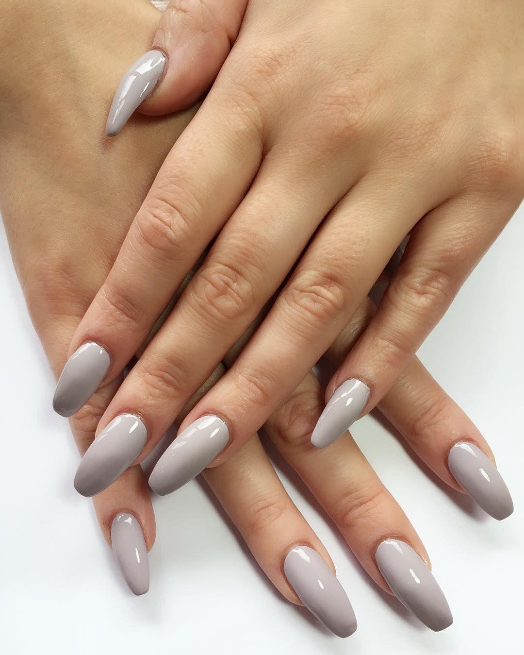 Nail Extension Ideas 2019: SOFT GREY Acrylic Nail Extensions #nailedit #nail #nails