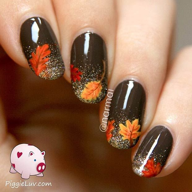 Leaves & Glitter Nail Art Design - 35 Cool Nail Designs To Try This Fall Glitter Nails, Leaves And