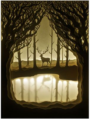 Incredible paper cut art incorporating LED back-lit light boxes by artist couple Hari &