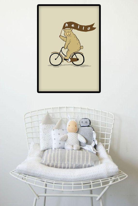 Printable Bear Riding Bike Wall Art Poster by…