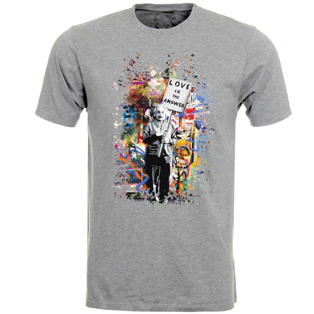 Love Is The Answer Albert Einstein Banksy Art Mens T-Shirt Top AB75    Clothes 4b809f7ad7