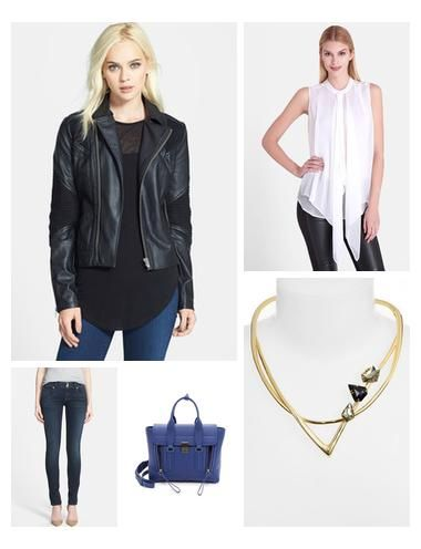 Black Leather Jacket is such an essential piece you need to have in your closet. Pair it with skinny jeans and a nice blouse, and you get a very chic weekend/date night look.