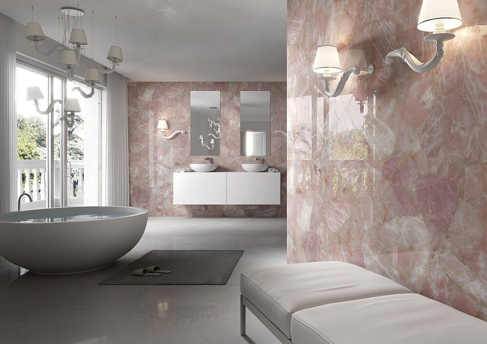 Gorgeous Master Bathroom With Rose Quartz Walls Pastel Home Decor Luxury Rooms Modern Baths