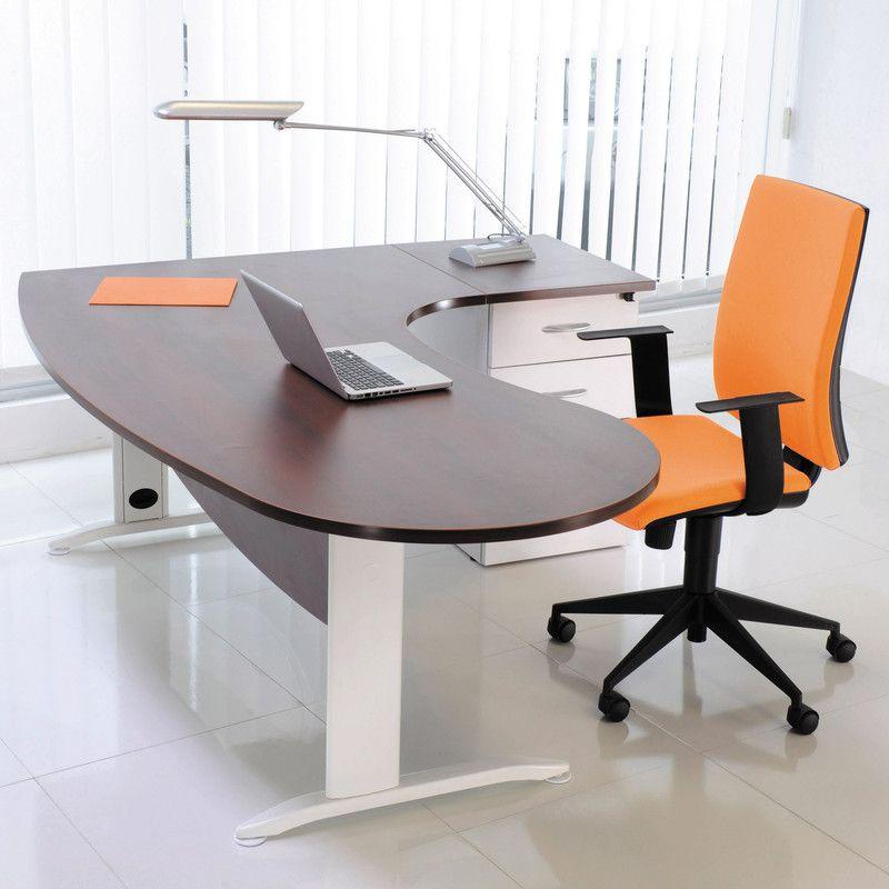 Bureau Professionnel Angle A Droite 200x110x72 Cm Coloris Blanc Et Wenge Deco Bureau Professionnel Bureau Courbe Mobilier Bureau