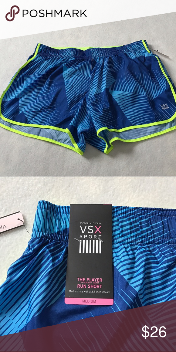 NWOT Victoria's Secret VSX Player Shorts Never worn. Shades of blue pattern with a neon yellow trim. Has VSX logo on bottom left. Built in panty. Great for working out. Bundle 2+ items and get my 20% off bundle discount. Victoria's Secret Shorts