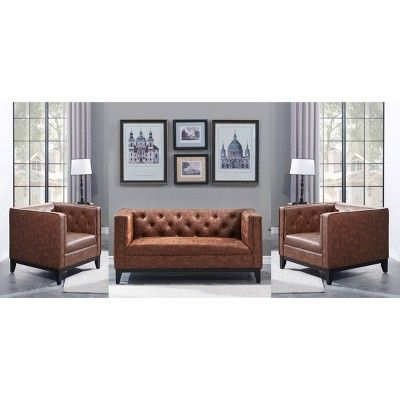 Pleasing 3Pc Cadman Faux Leather 2 Seat Loveseat And 2 Armchairs Uwap Interior Chair Design Uwaporg