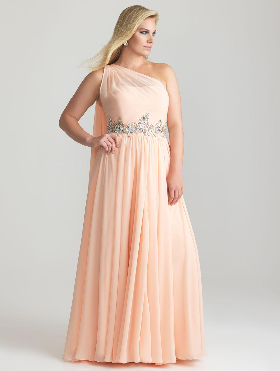 6587f48cd0 Peach Chiffon One Shoulder Embellished Empire Waist Plus Size Prom Dress -  Unique Vintage - Cocktail