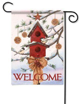 "Snow Pine Chickadees Winter Garden Flag - 13"" x 18"" - 2 Sided Message"