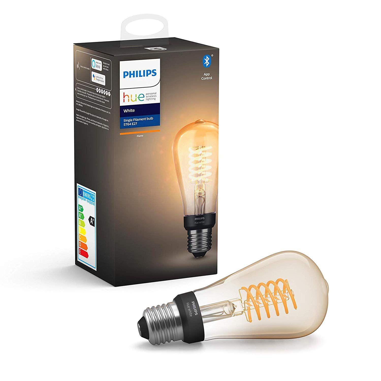 Hue White E27 Einzelpack 550lm Filament St64 Kolben Bluetooth Amazon De Beleuchtung Led Gluhbirnen Hue Led Lampe