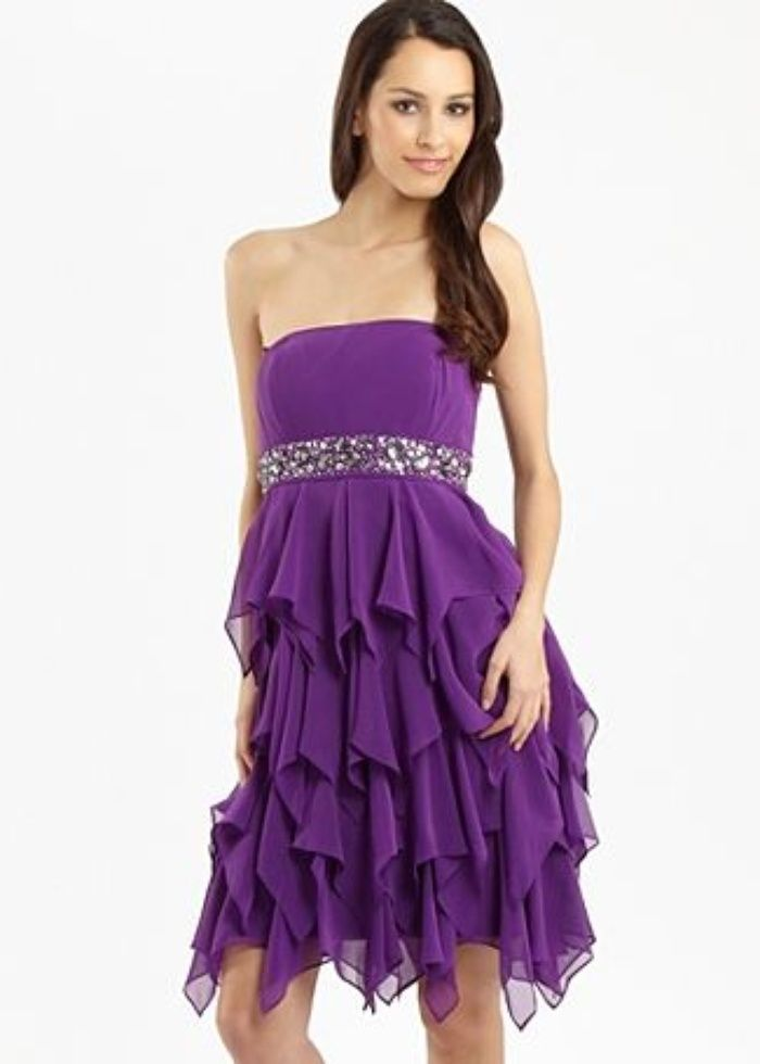 Purple Wedding Dresses | Purple tiered skirt dress by Star by Julien ...