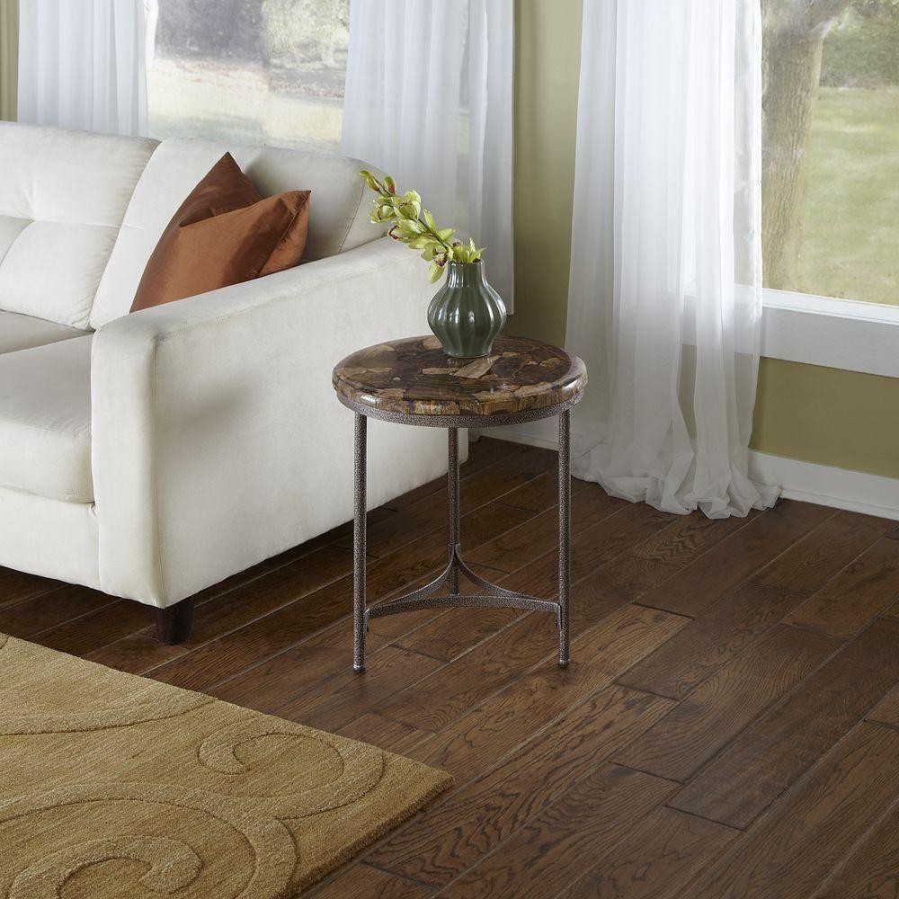 Petrified Wood Accent Table, Petrified Wood/Gray Metal
