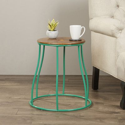 Bungalow Rose Mehdi Round End Table Finish Green End Tables Table End Tables With Storage