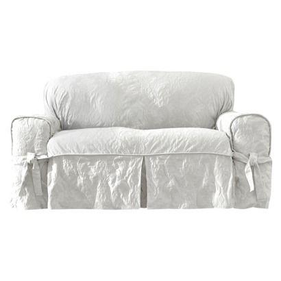 Matelasse Damask Sofa Slipcover White Sure Fit For My