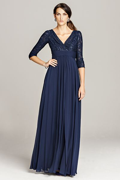ffc4f0fa2d9 Navy Lace and Chiffon Gown with Empire Waist