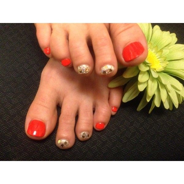 Orange&Gold Pedi Nail Art Gallery ❤ liked on Polyvore featuring ...