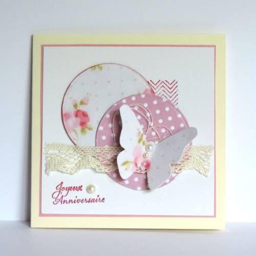 Carte Anniversaire Femme Romantique Dentelle Papillon Rose Et