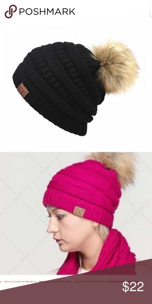 34128033111 C.C. Faux Fur Pompom Black Beanie Black C.C. faux fur pompom beanie. 100%  Acrylic Faux Fur Non smoking pet friendly home C.C. Beanie Accessories Hats
