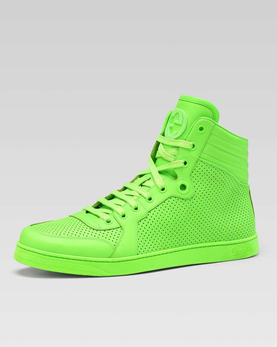 d0d331cbb Gucci Coda Neon Leather High-Top Sneaker, Green | Sneakers | Shoes ...
