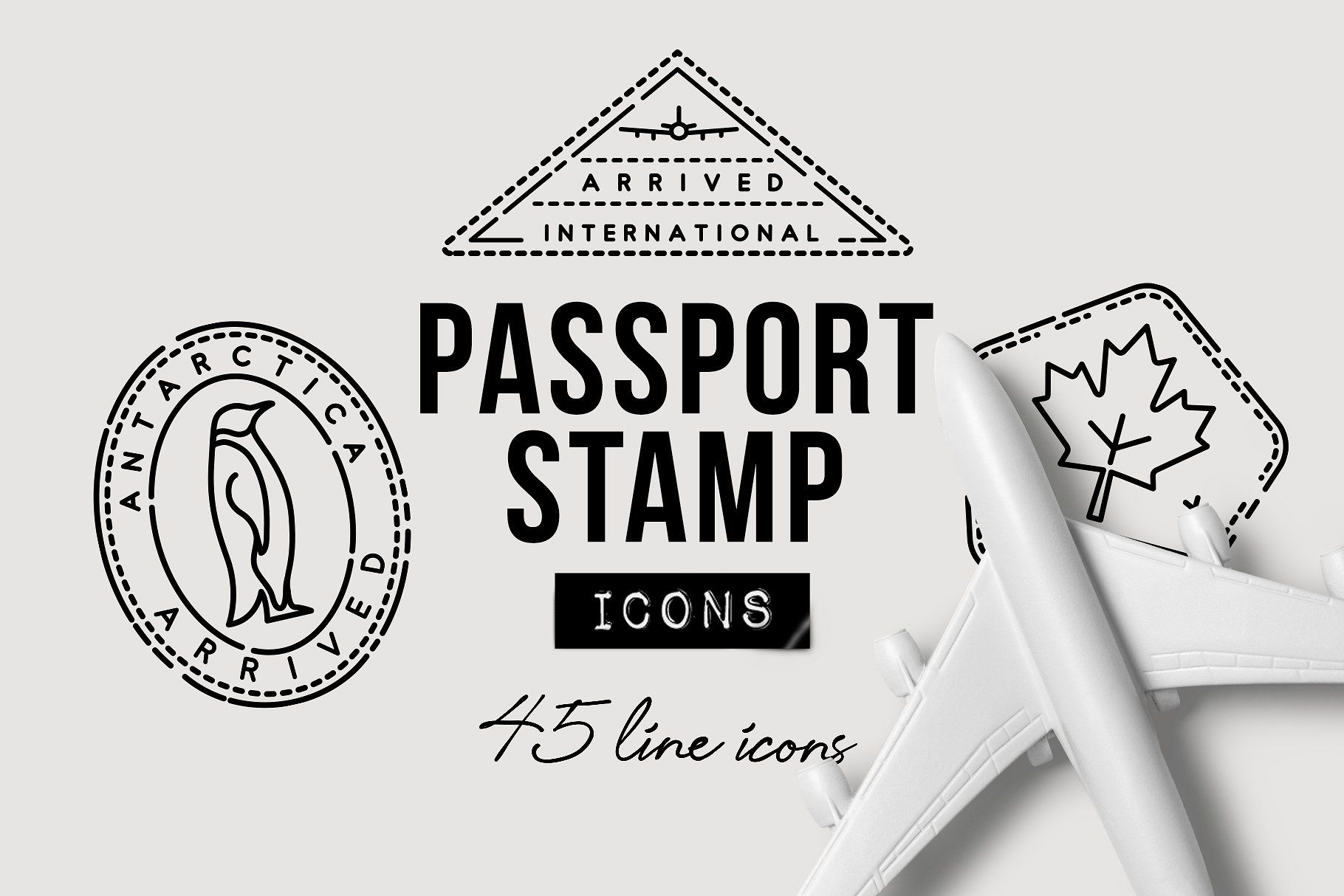 45 Passport Stamp Icons Travel Website Symbol Passport Stamps