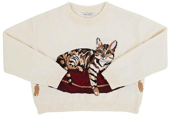 31e424e4ad6beb Dolce & Gabbana KIDS' INTARSIA-KNIT-CAT VIRGIN WOOL-BLEND SWEATER ...