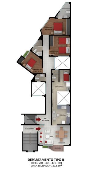 Planos departamentos esquina 121m2 arquitectura en 2019 for Distribucion departamentos modernos