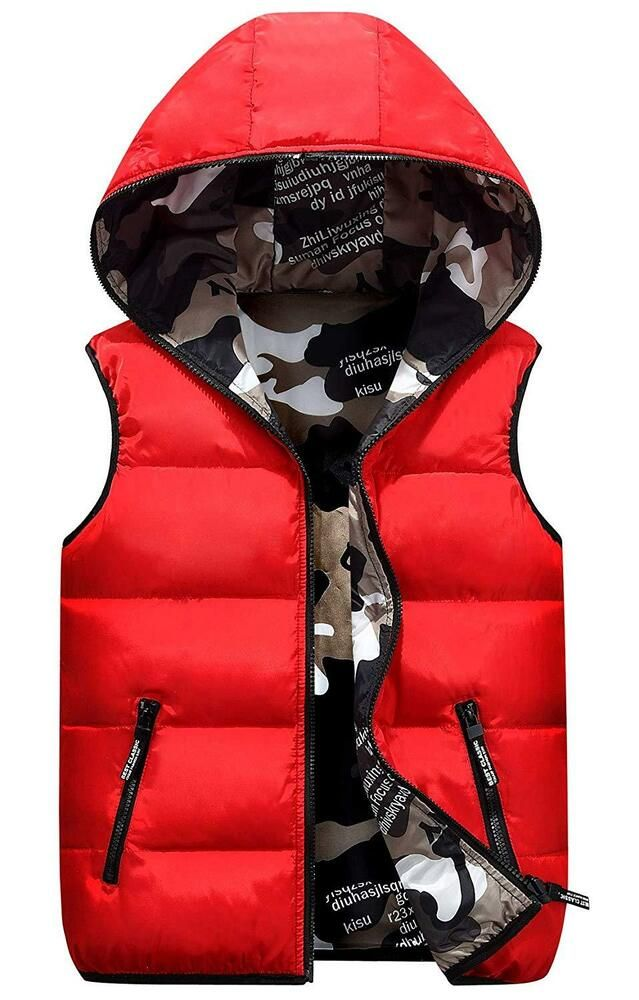 Happy Cherry Girls Polar Fleece Vest Reversible Cartoon Zipper Hooded Waistcoat