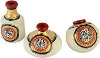 ExclusiveLane Warli Handpainted Pots Natural White Set of 3 Showpiece  -  10 cm