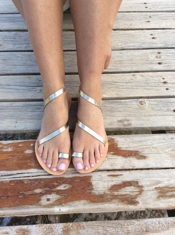 Greek Sandals, Gladiator Sandals,Gold Sandals, Gold Leather