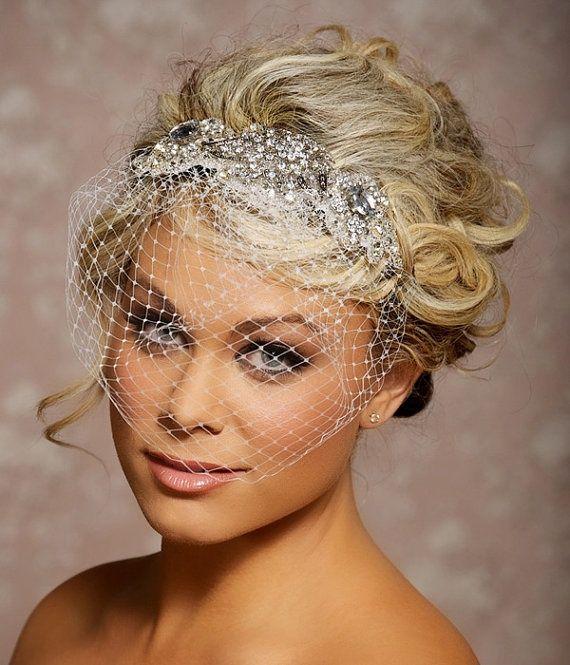Vintage Wedding Hairstyles With Birdcage Veil: Sweetheart Tulle Mermaid Wedding Dress