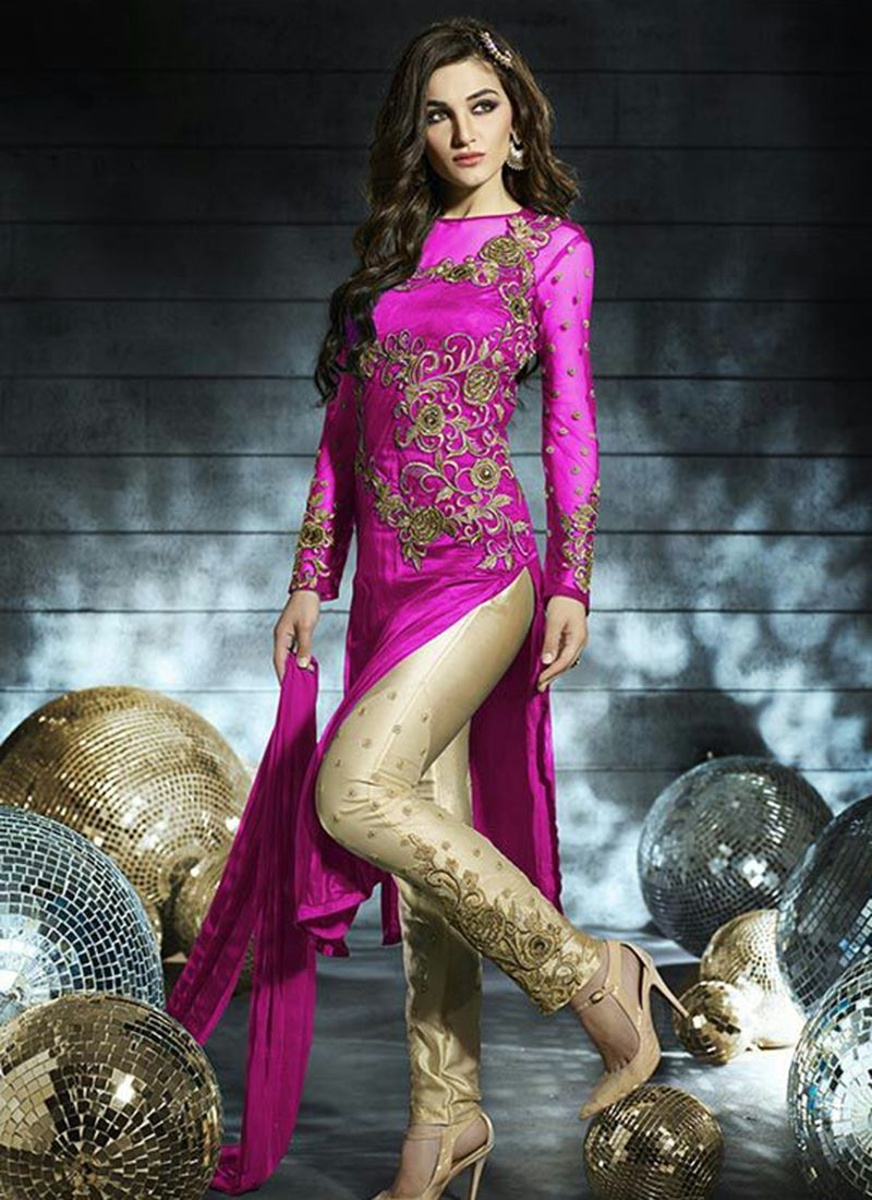 Buy This Distinctively Hot Pink Net Straight Salwar Suits Online ...