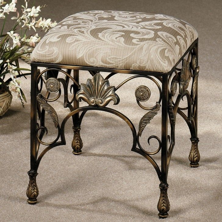 furniture-black-wrought-iron-vanity-stool-with-square-patterned