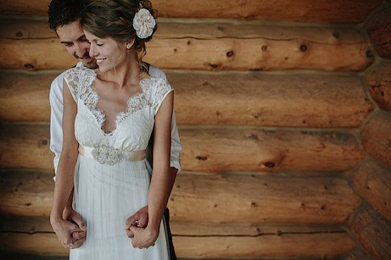 Sam Rustic barn wedding flower ivory peach by ButtonsnBlossoms