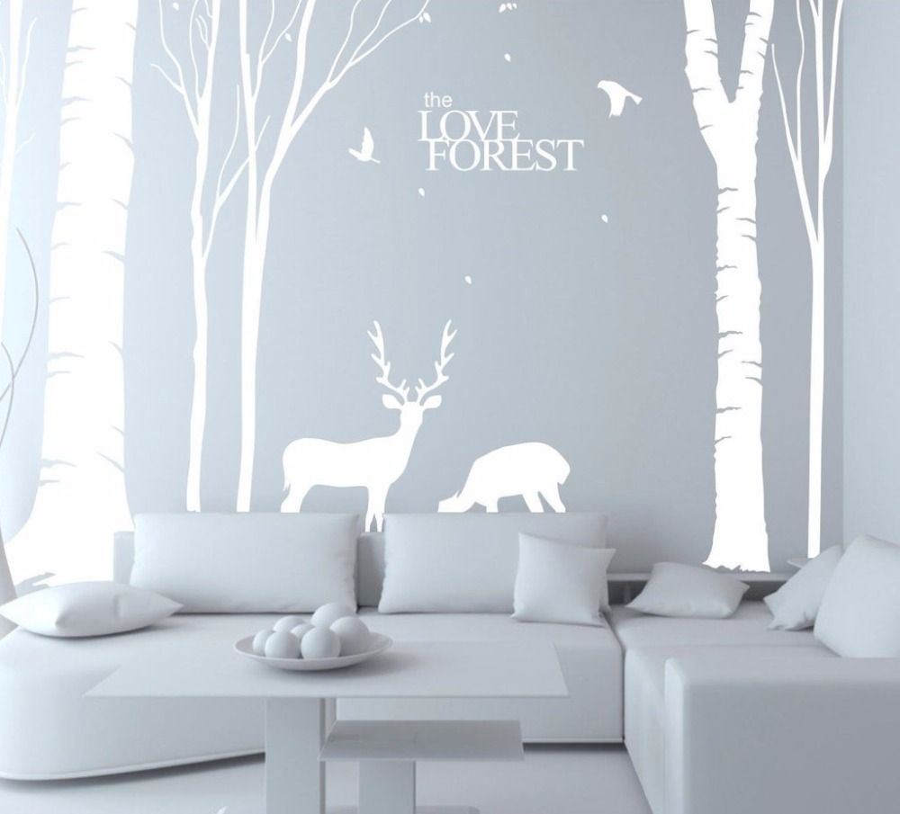 Giant white tree vinyl wall decals mural art wall home decor babies
