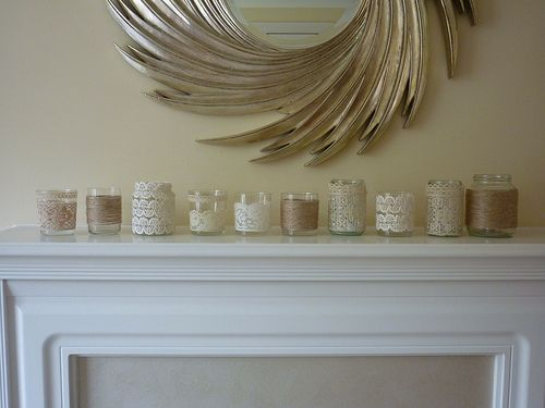 mason jars wrapped with lace and twine to make pretty candle holders