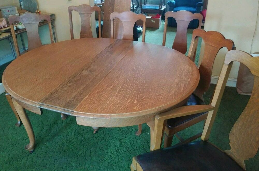 Vintage Tiger Wood Dining Table With 3 Leaves And 6 Wood Leather T